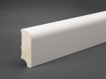 Sockelleiste Weiß Massivholz 60 mm x 20 mm (Oberkante gerundet)