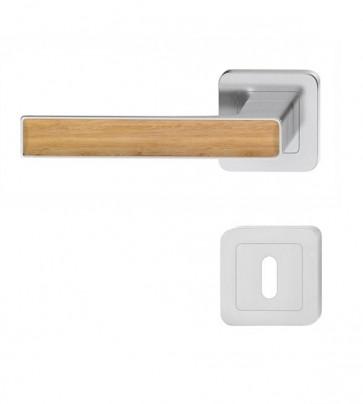 Nickel matt Türklinke mit Griff aus Holz Eiche-Dekor (BB)