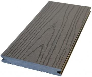 Muster Terrassendiele WPC massiv, dunklegrau und Struktur
