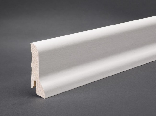 Sockelleiste Furnierte Leiste Weiß Lackiert (Profil 60mm X 22mm)