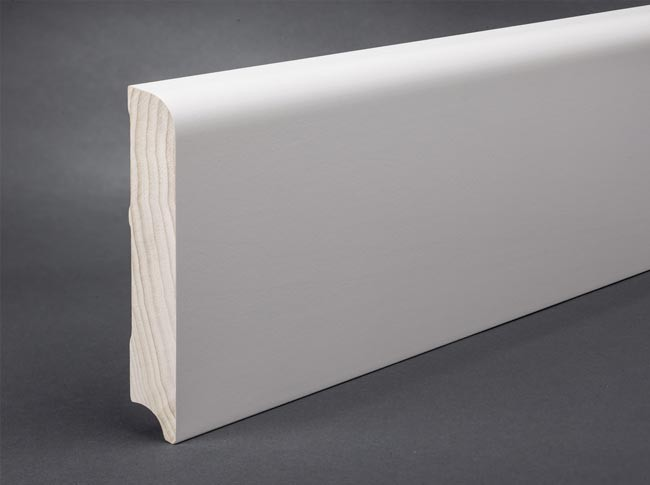 wei e sockelleisten mdf 120 mm x 20 mm oberkante gerundet grundiert lackiert von t. Black Bedroom Furniture Sets. Home Design Ideas