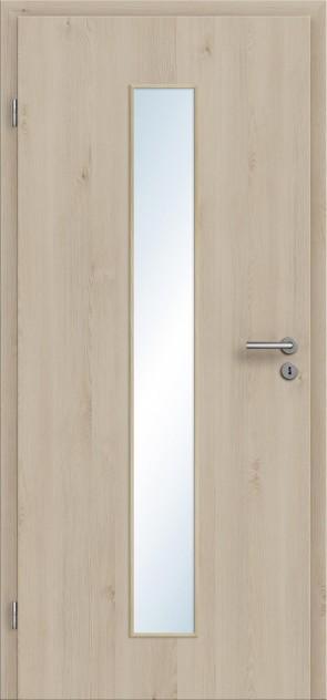 CPL Tür Glasausschnitt Zarge Natura Pinie Cream / Längsoptik