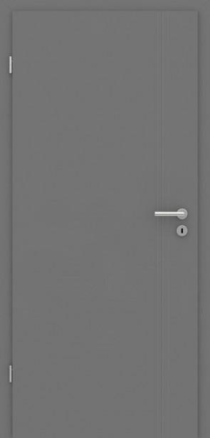Metallgraue Tür mit Zarge | Türelement mit Rillen längs
