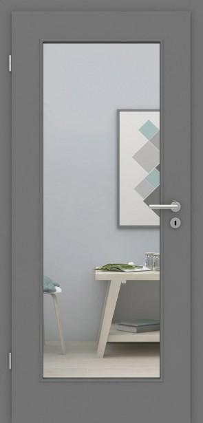 Designtür Metallgrau Rimini 1G / Glasausschnitt 001
