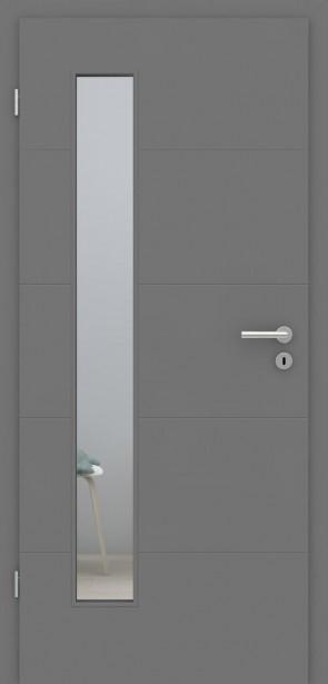 Metallgraue Tür mit Zarge | Türelement mit 4 Rillen | Lichtausschnitt 008B