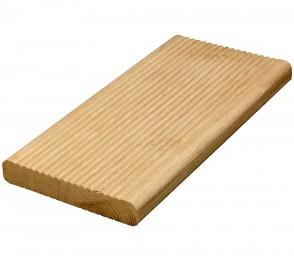 Eiche Terrassendielen Holz beidseitig gerillt (25 mm x 120 mm)