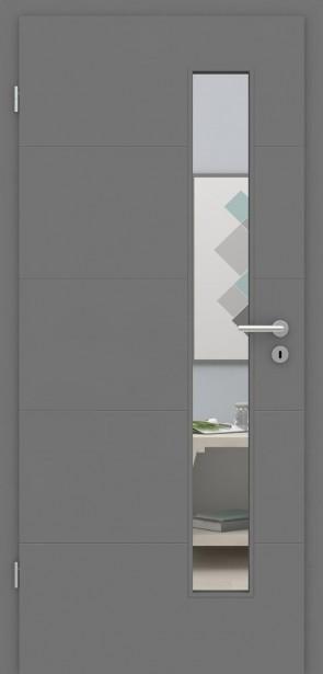 Metallgraue Tür mit Zarge | Türelement mit 4 Rillen | Glaseinsatz 008S