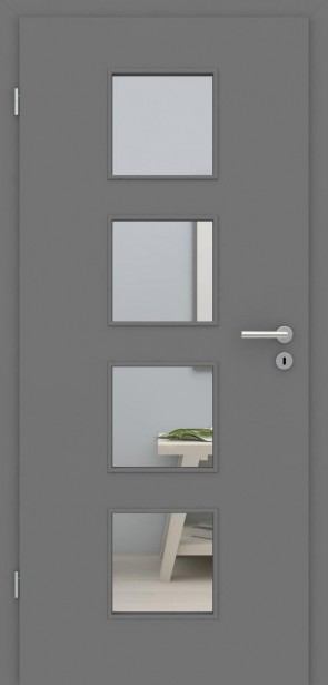 Tür mit Zarge Metallgrau LA 004 | 198,5 & 211cm | Türblatt MDF, Zarge CPL