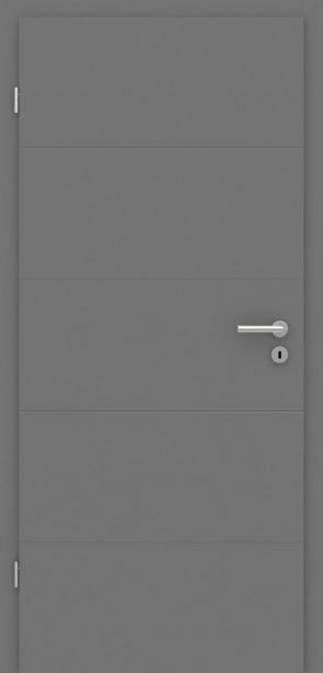 Zimmertür mit Zarge | Türelement Metallgrau mit 4 Rillen