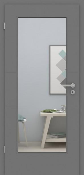 Metallgraue Tür mit Zarge | Türelement mit 4 Rillen | Lichtausschnitt 001