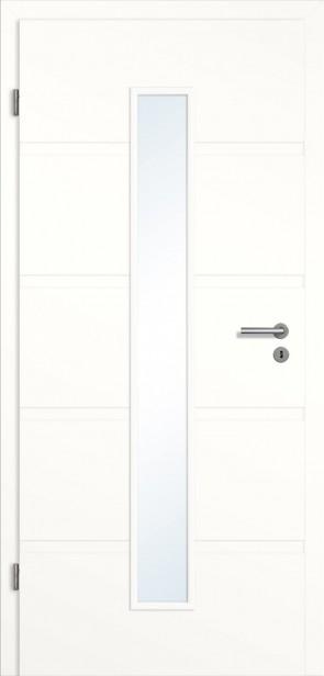 Rillentür Lichtausschnitt mittig / Zarge Weiß (Modell Madrid)