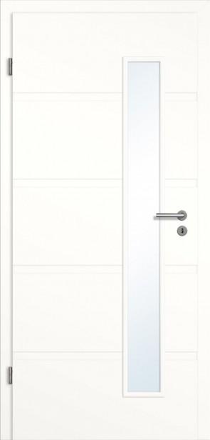 Rillentür Lichtausschnitt rechts / Zarge Weiß (Modell Madrid)