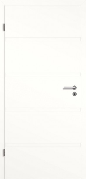 Rillentür mit Zarge Weiß (Modell Madrid)