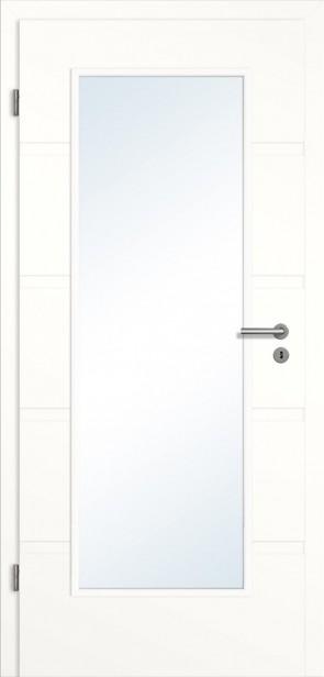 Rillentür Glasausschnitt Zarge Weiß (Modell Madrid)