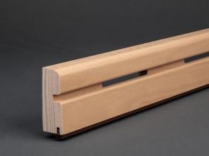 Sportbodenleiste mit Lüftungsschlitzen 70mm x 28mm Buche Massivholz