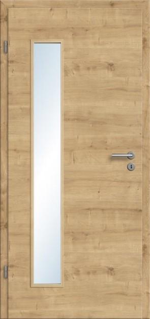 Türelement Eiche astig Lichtausschnitt 008B (quer), Zarge Designkante