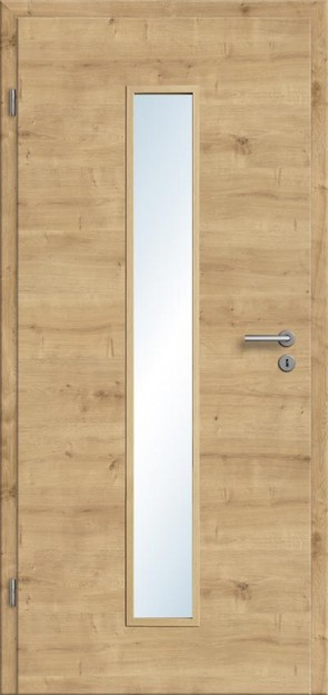 Türelement Eiche astig Lichtausschnitt 008M (quer), Zarge Designkante