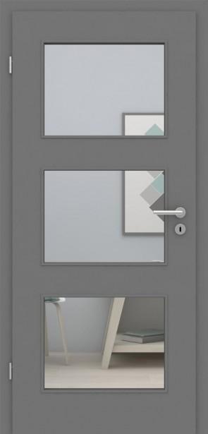 Tür mit Zarge Metallgrau LA 003 | 198,5 & 211cm | Türblatt MDF, Zarge CPL