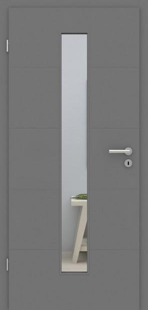 Metallgraue Zimmertür mit Glaseinsatz | Türelement mit 4 Rillen quer