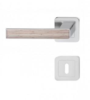 Türdrücker Türklinken Nickel satiniert mit Eiche Holz-Design (BB)