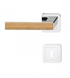 Chrom glänzend poliert Türklinke mit Griff aus Holz Eiche-Dekor (BB)