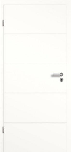 Weiße Tür mit 4 Querrillen