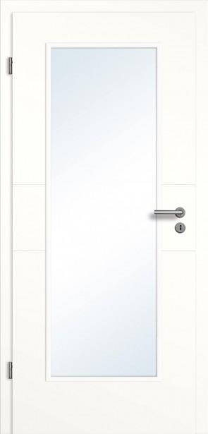 Weiße Tür Glasausschnitt