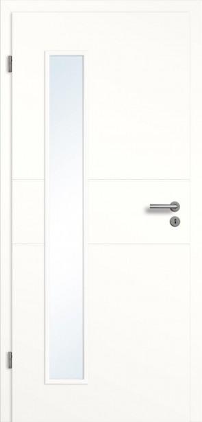 Weiße Tür Glasausschnitt / Querrillen
