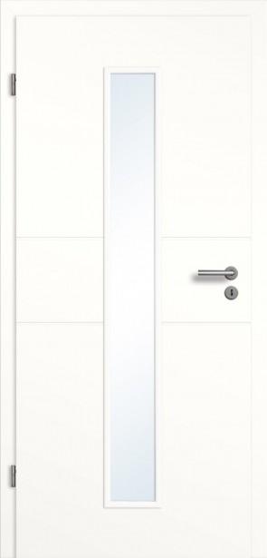 Weiße Tür Glasausschnitt - 2 Rillen