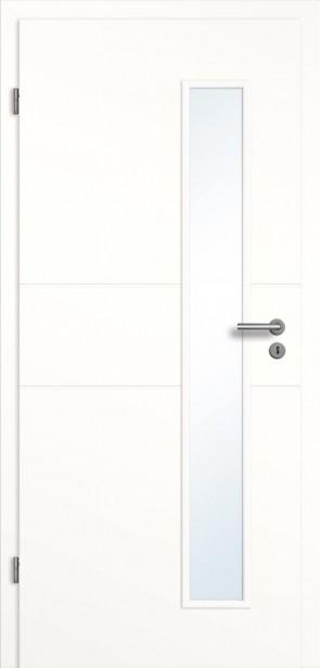 Tür Weiß Glasausschnitt / Querrillen