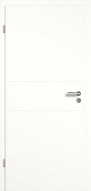 Weiße Tür mit 2 Querrillen