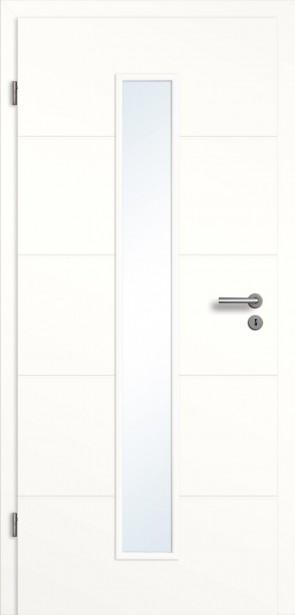 Weißes Türelement mit Lichtausschnitt / 4 Querrillen