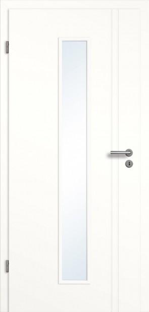 Weiße Tür + Zarge Glaseinsatz / 2 Längsrillen