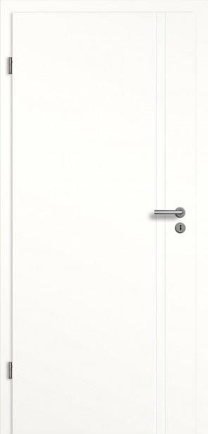 Weiße Tür mit 2 Längsrillen