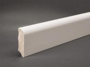 Weiße MDF Sockelleisten Oberkante gerundet 60 mm x 16 mm