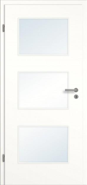 CPL Zimmertür Lichtausschnitte mit Zarge / Weiß