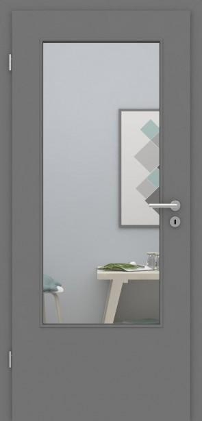 Tür mit Zarge Metallgrau LADIN | 198,5 & 211cm | Türblatt MDF, Zarge CPL